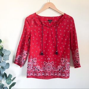 talbots | red paisley lightweight top P